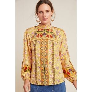 Anthropologie Maeve Goldie Embroidered Blouse